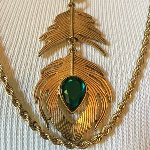 Green & Gold Feather Necklace